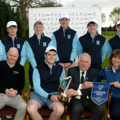 Leinster Inter Schools League Match Play Killeen 2018 The winning team from Blackrock College… John Ferriter, Chairman of Leinster Golf with Brian Cosgrove, Director of Golf at Killeen and Team Managers, Conor Harte and Andrea Fitzgerald. Back (l to r): Ronan Cowhey, Cathal French, Rory Reid, Robert Abernetty, Shane Brosnan and Robert O'Callaghan. Photo: Ronan Quinlan  Issued on behalf of Leinster Golf - no fee for editorial use. www.cashmanphotography.ie