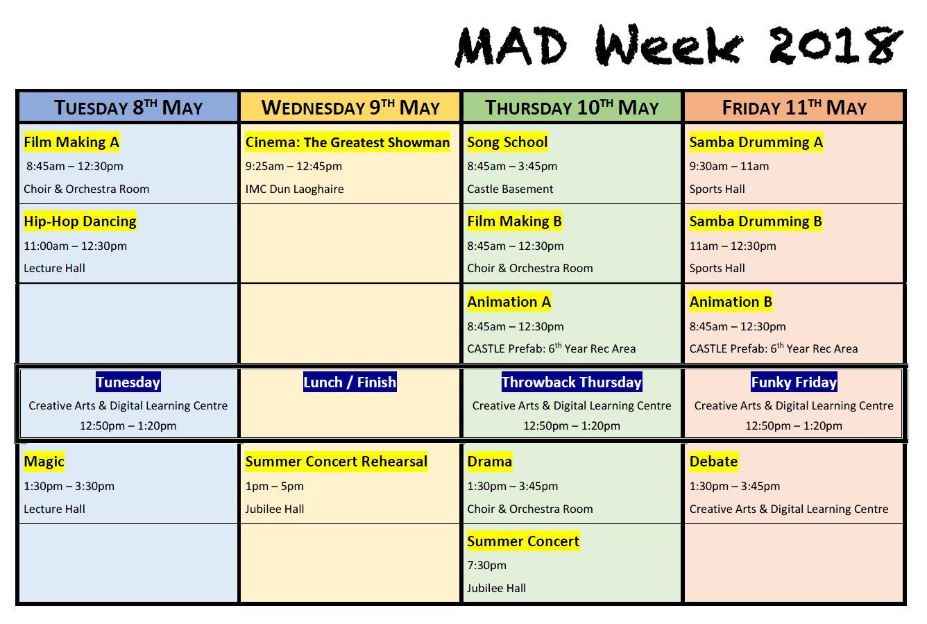 MAD Week Schedule 2018